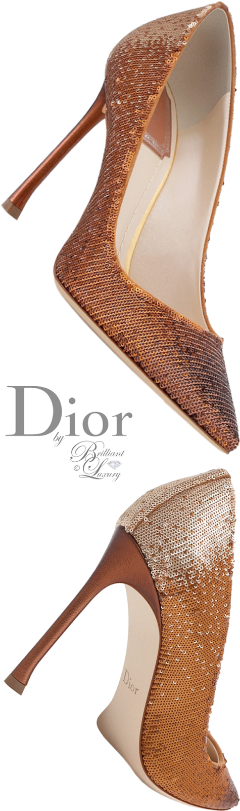 Brilliant Luxury ♦ Dior pump with graded gold-tone sequins