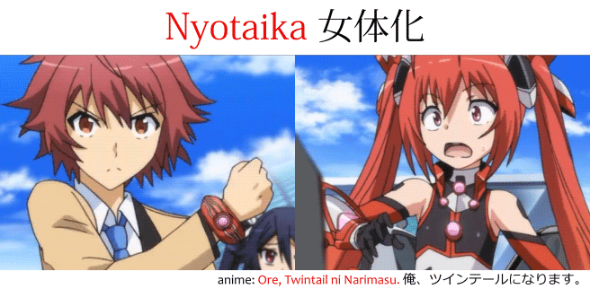nyotaika 女体化 example from Ore, Twin tails ni Narimasu, where the main character is a male-to-female gender-bender
