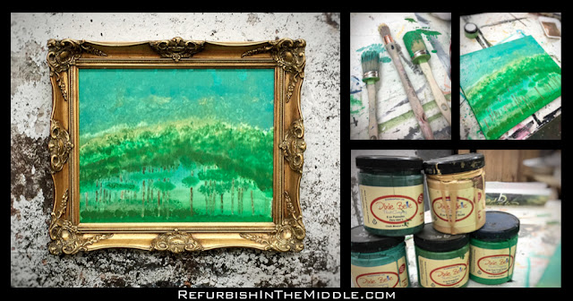 assorted pictures of framed art print, chalk paint, paint brushes, and canvas