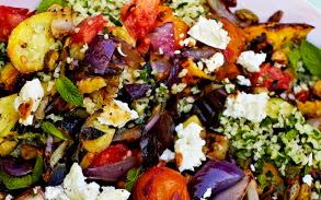 Гриль салат с Фетой и кус-кусом