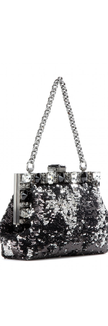 Dolce & Gabbana Small Framed Sequined Clutch with Chain