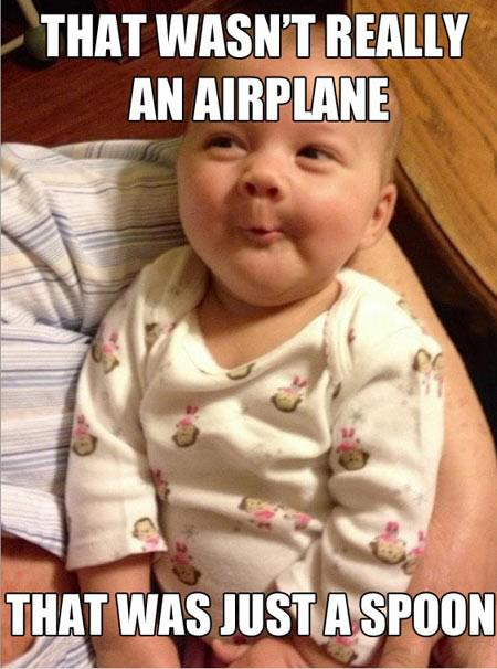 Funny Baby Spoon Airplane Caption Photo