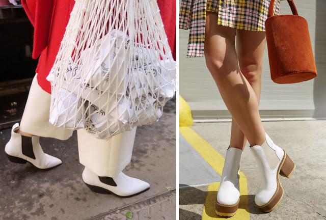 Ботинки челси белого цвета на платформе