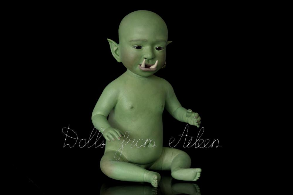 ooak artist baby orc doll, nude