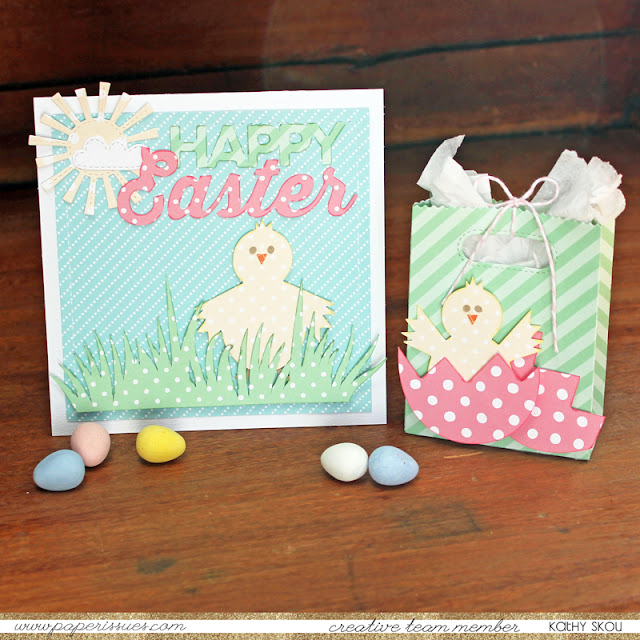 Happy Easter card and gift bag featuring Easter Chicks Free Digital Cut File by Juliana Michaels 17turtles.com