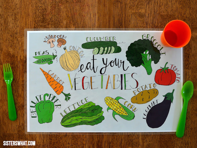 free printable vegetable place mat for kids