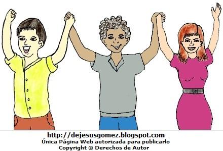 Dibujo de Jóvenes por el Día Internacional de la Juventud a colores . Dibujo por el Dia Internacional de la Juventud hecho por Jesus Gómez