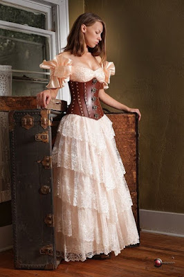 The tiered skirt is a popular style in women's steampunk fashion, derivative of victorian era petticoats with layers of ruffle and flounce