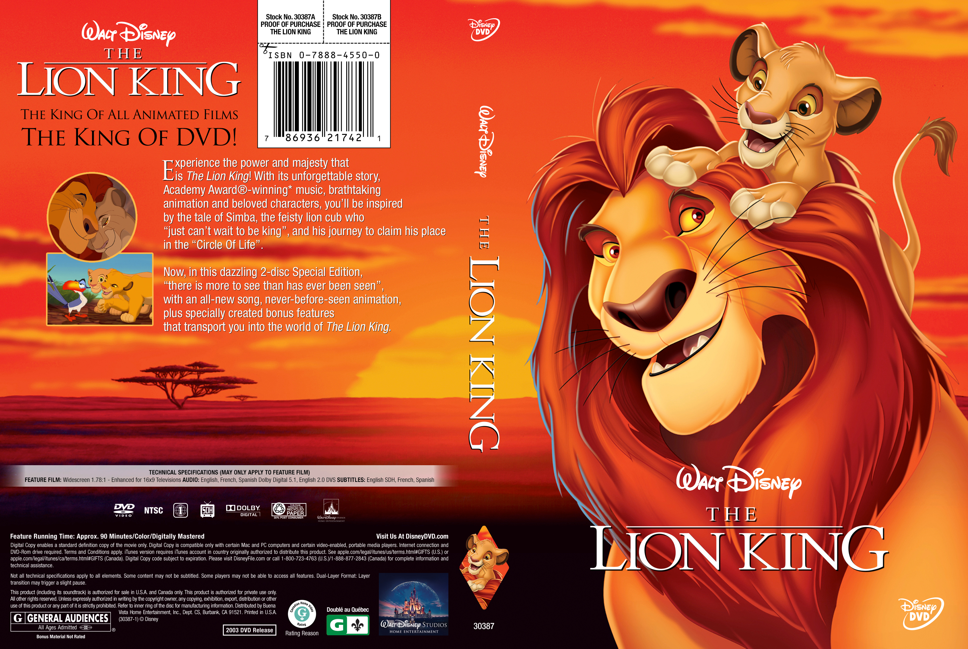the lion king  1994  dvd cover - cover addict