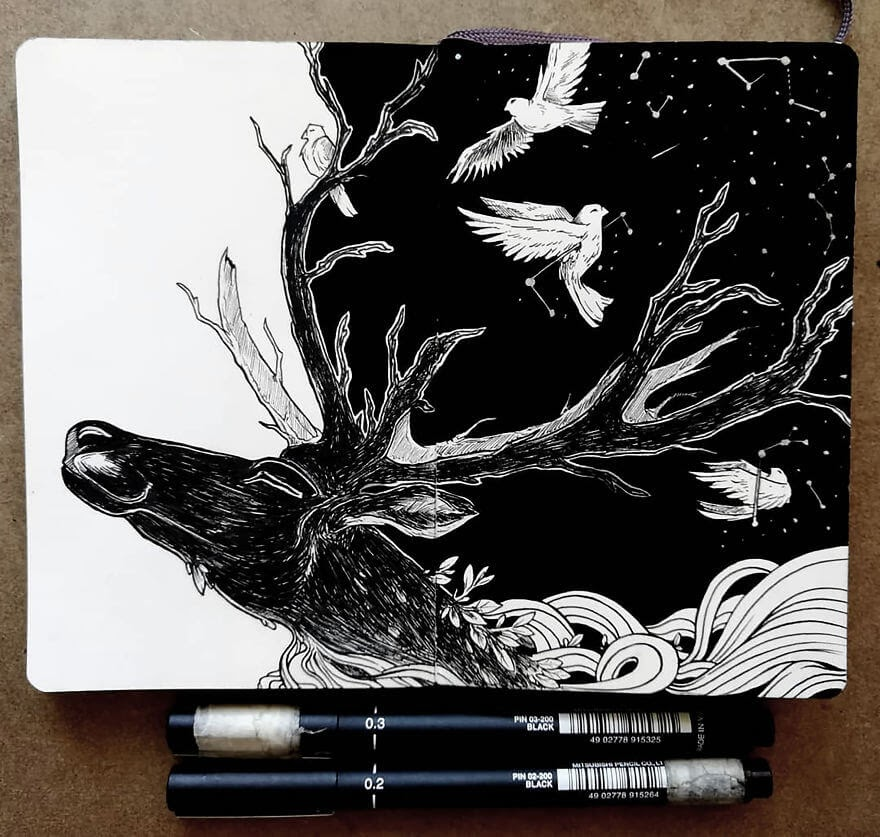03-At-Night-Stag-Bráulio-Monteiro-Moleskine-Pen-and-Ink-Animal-Illustrations-www-designstack-co