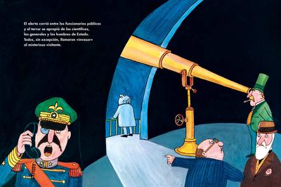 ilustración donde ven como escapa el hombre luna