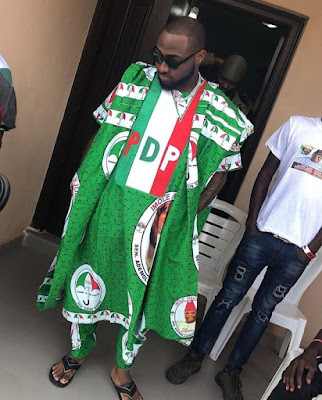 Davido rocks complete PDP Ankara Agbada for Uncle's Rally