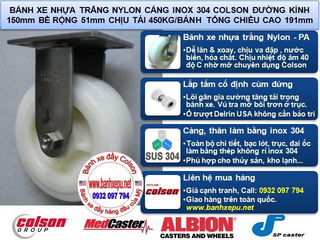 Bánh xe INOX 1150 nhựa PA, mặt đế bánh xe đẩy colson www.banhxepu.net