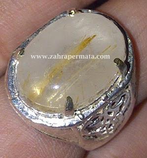 Cincin Batu Kecubung Rambut Emas
