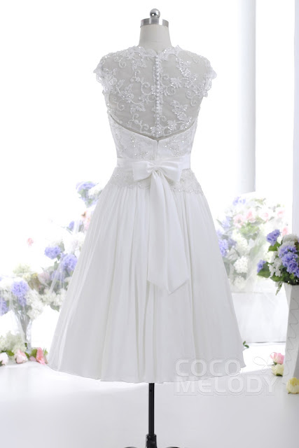 A-Line Illusion Natural Knee Length Chiffon Ivory Sleeveless
