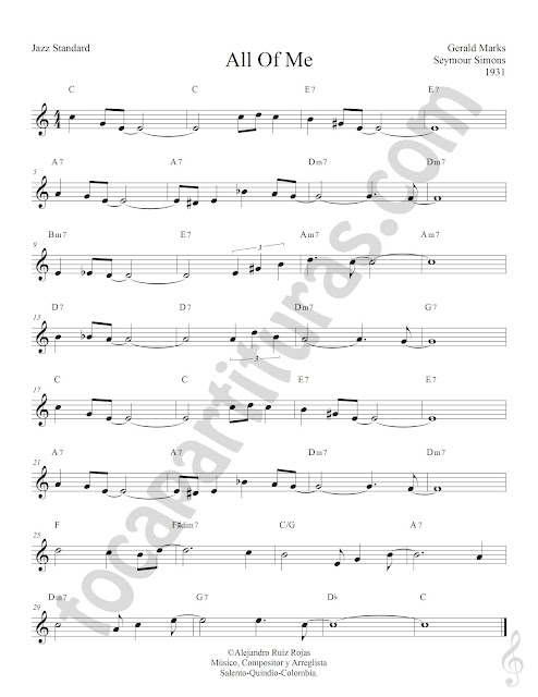 All of Me de Gerald Marks y Seymour Simmons Partiura Fácil con Acordes All of Me Easy Sheet Music with Chords