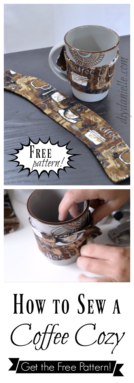 Free sewing pattern for a coffee cozy.
