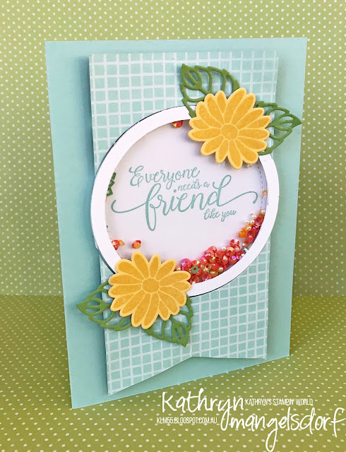 Stampin' Up! Special Reason, Stylish Stems Framelits Dies, Sprinkles Embellishments, Suite Sentiments, Shaker Card created by Kathryn Mangelsdorf