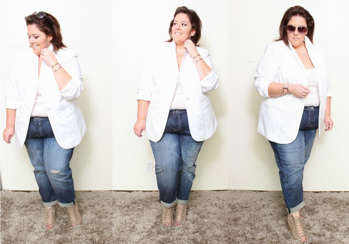 26aea267ae3 The ultimate white plus size boyfriend blazer look - Life and Style of  Jessica Kane