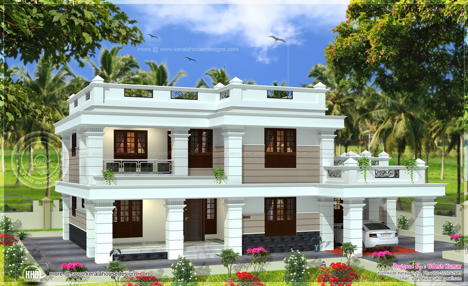 Flat roof house in 2567 square feet home kerala plans for Flat roof home plans