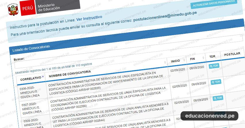 MINEDU: Convocatoria CAS AGOSTO 2020 - Más de 100 Puestos de Trabajo en el Ministerio de Educación [INSCRIPCIÓN DE POSTULANTES HASTA EL 8 DE SETIEMBRE] www.minedu.gob.pe