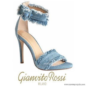 Queen Maxima wore Gianvito Rossi Lola frayed denim sandals