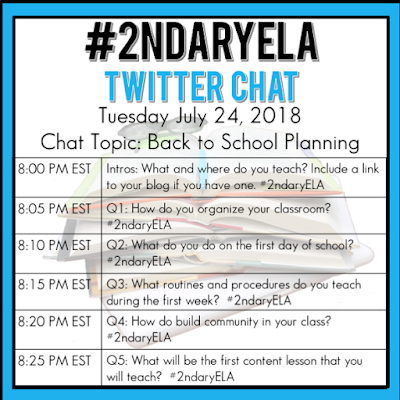 Join secondary English Language Arts teachers Tuesday evenings at 8 pm EST on Twitter. This week's chat will be about back to school planning.