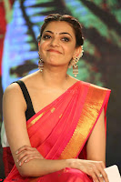 Kajal Aggarwal in Red Saree Sleeveless Black Blouse Choli at Santosham awards 2017 curtain raiser press meet 02.08.2017 068.JPG