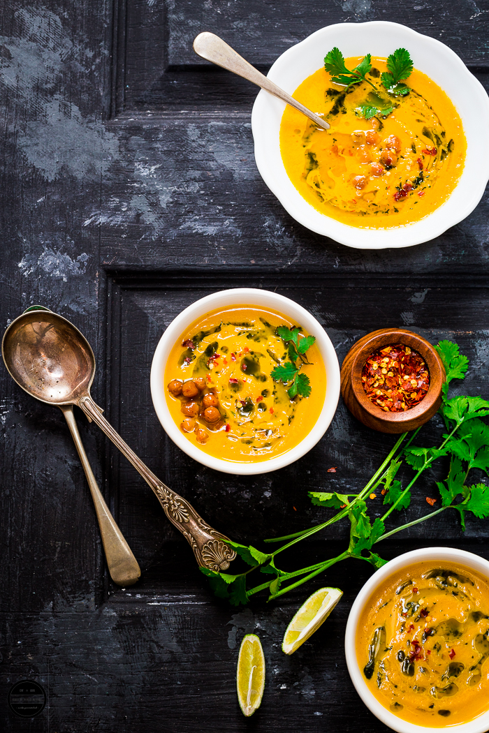 Roasted Carrot, Chickpea Soup with Coriander and Lime Vinaigrette