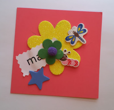 Mother's Day card with flowers, dragonfly, caterpillar and star