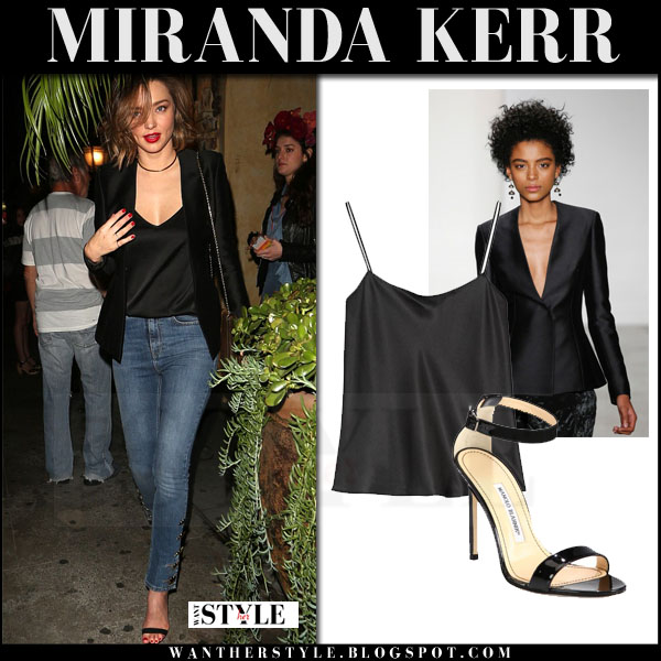 Miranda Kerr in black brock collection jacket, black silk the row biggins top and skinny jeans what she wore