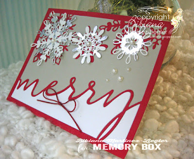merry snowflakes card side view