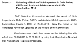 SSC CPO 2018 Marks Released Check now