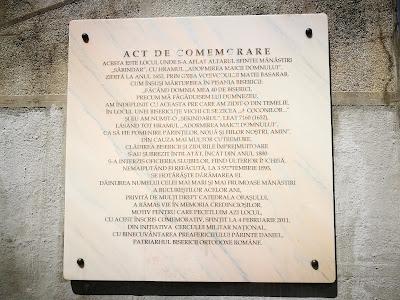 A plaque at the Romanian Military Club, Bucharest, near Sărindar Fountain