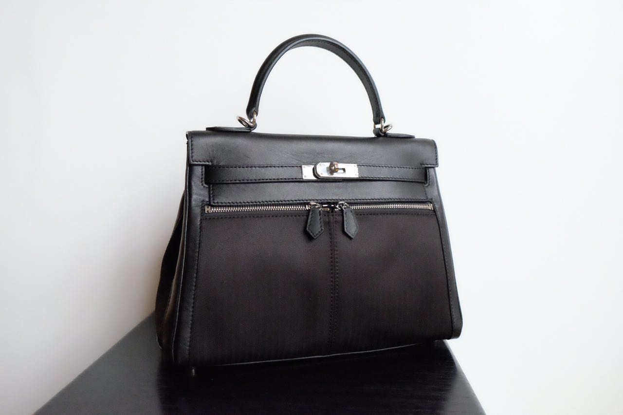 Kinda Kollection  Hermes Kelly 32Cm Lakhis Nylon and Swift Mirror Original  Leather Bag 351a0666e7