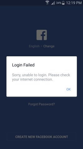 facebook app not working today