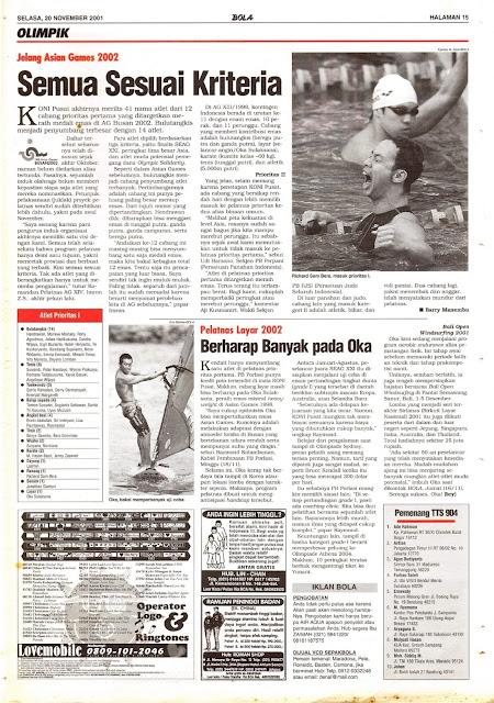 JELANG ASIAN GAMES 2002 SEMUA SESUAI KRITERIA