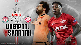 Liverpool vs Spartak Moscow Live Stream online Today 06 -12- 2017 UEFA Champions League