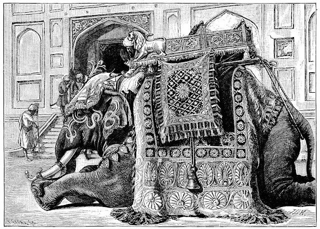a John Lockwood Kipling illustration of a royal elephant kneeling and waiting