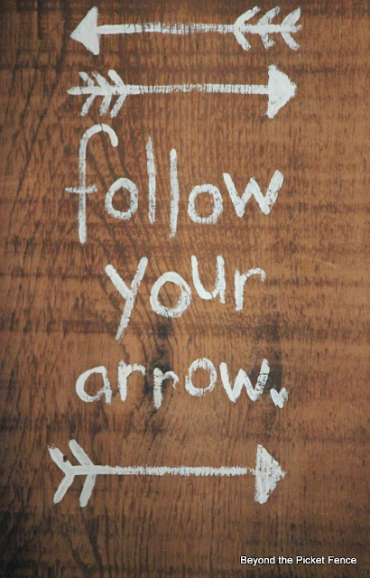 Rustic, hand Lettered Follow your arrow sign
