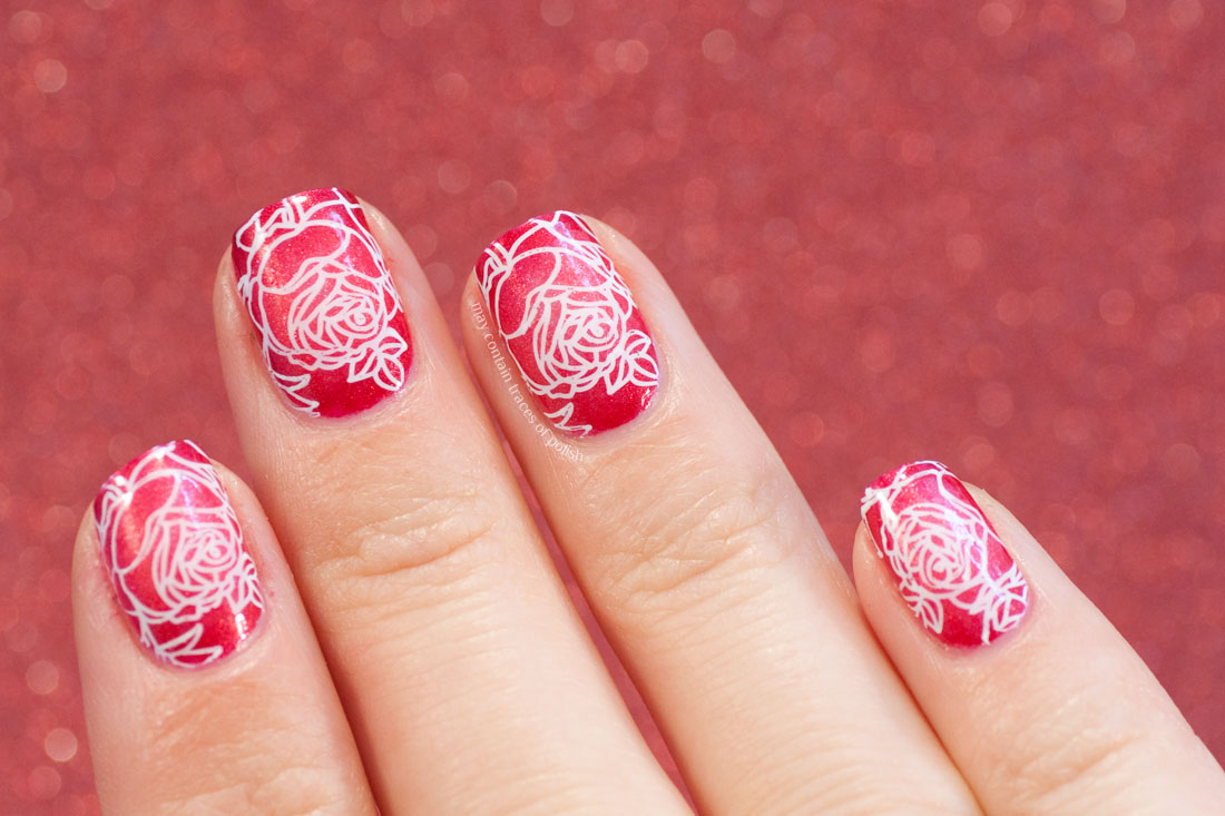 31 Day Challenge: Day 10, Radial Gradient Nail Art Red Rose
