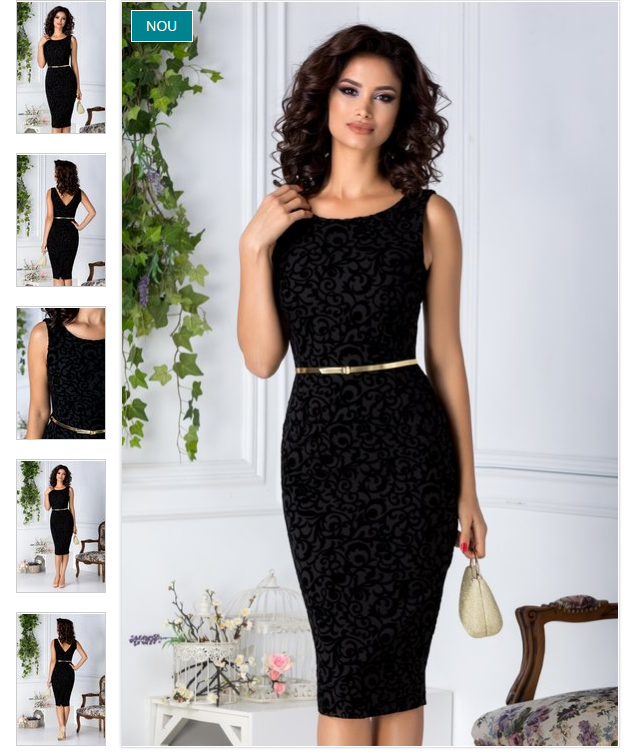 Rochie eleganta de ocazii neagra cu detalii florale catifelate