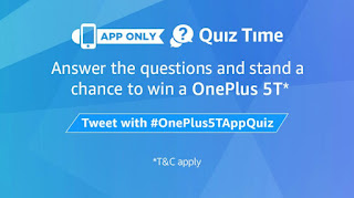 "Amazon OnePlus 5T QUIZ ANSWERS, Amazon Quiz Today Answers, Amazon Quiz Time, Amazon Quiz Answer of Today, 8 December Quiz Answer, Amazon App Only Quiz Answer, Amazon Today's Quiz Answers, OnePlus 5T Quiz Answers,   Hii Guys Are You Searching for Amazon Today's Quiz Answer? Amazon is Back Again with ""OnePlus 5T QUIZ "". In this Amazon fest Quiz Get a OnePlus 5T  by Answering Amazon Quiz Answers. And You can get a Chance to Win OnePlus 5T  if Answer All the Amazon Quiz Answers Correctly.   If You Thinking That "" How To Answer Amazon Today's Quiz,  If You Thinking That "" How To Answer Amazon OnePlus 5T  Quiz Correctly then Don't Worry. We are Here To Help You. Here We are giving All the Answers of ""Amazon OnePlus 5T Quiz ."" So is You already Searching for What is The Answers of Amazon Today Quiz, Amazon Quiz Answers, Amazon Quiz 8th December Answers, Amazon Quiz Sports Fest Answers, Then Keep Reading this post because this Post is only for you. And Below Are the Steps Which Will Help You To Play The Amazon Contest, What is The Eligibility To Play The Amazon Sports Fest Quiz, How To Play Amazon Quiz, How To Get a Chance To Win Amazon Quiz, What is The Answers Amazon Quiz of Today ? Then Further Proceed...  • Amazon Sports Fest Quiz Answers.   • Amazon Syska Quiz Answers.  • Amazon Honor 7x Quiz Answers.   ELIGIBILITY: You need to fulfil the following eligibility criteria to enter the Contest:  (a) You should be an individual legal resident of the Republic of India;  (b) You should have set India as your current country in your account settings on Amazon.in;  (c) You have a billing address within the territory of India; and  (d) You should be of an age 18 years or above at the time of entry into the Contest. Our employees, their immediate family members (spouses, domestic partners, parents, grandparents, siblings, children and grandchildren), and our affiliates, advisors, advertising/Contest agencies are not eligible to enter the Contest.  How To Play Amazon Quiz & Win OnePlus 5T  ?  i) Download Amazon App & Sign in to your Amazon.in account;  ¡¡) In case you are not signed in, you will be directed to a sign in page.  ¡¡¡) There will be a total of 5 questions, Answer all the questions correctly to enter the lucky draw  All Answers To Amazon One Plus 5t Quiz – 8th December  1. What is the color of the alert slider of the OnePlus 5T Star Wars Limited Edition? Answer–  red 2. In Star Wars parlance, what is common between Luke, Qui-Gon, and Obi-Wan? Answer –they are Jedis 3. What is the pre-installed theme in the OnePlus 5T Star Wars Limited Edition phone? Answer –star wars    4. What is the name of Han Solo's son who features in the Last Jedi? Answer – Kylo ren 5. When does the sale of the OnePlus 5T Star Wars Special Edition begin? Answer – December 15, 2017 Congrats…!! You completed Quiz with all correct answers.  Wowww Boom !!! You have Successfully, Answered All the Answers of Amazon OnePlus 5T Quiz.  Terms & Conditions of Amazon OnePlus 5T Quiz ;-  In order to be eligible for the Contest, during the Contest Period you must sign-in to or sign-up from an account on the Amazon.in App (""Amazon.in App"").  Once you have signed-in to the Amazon.in App, you can participate by navigating to the page where 5 (five) questions will be posted during the entire Contest Period.  Thereafter, if you answer all the quiz questions correctly, you will be entitled for a lucky draw which will be carried out amongst participants who have answered that particular question correctly.  Contest Terms and Conditions The OnePlus 5T App Quiz (""Contest"") is "") is brought to you by OPlus Mobitech India Pvt. Ltd. (""OnePlus"") - (""Brand"") and made available to you by Amazon Seller Services Private Limited (""ASSPL""/ ""Amazon"").  Please read these terms and conditions (""T&Cs"") before entering the Contest. You agree that, by participating in this Contest, you will be bound by these T&Cs and you acknowledge that you satisfy all Contest eligibility requirements as provided herein below. These T&Cs are in addition to the Amazon.in Conditions of Use to which you agree by using the Amazon.in website or mobile/tablet application or mobile site thereof (collectively hereinafter referred to as ""Amazon.in""). To the extent the Amazon.in Conditions of Use are inconsistent with these T&Cs, these T&Cs will prevail with respect to the Contest only. For the purposes of these T&Cs, wherever the context so requires ""You"" or ""Your"" shall mean any natural person who is a participant in the Contest. If You have any questions Regarding amazon quiz contest today, amazon contest answers today, amazon quiz winners, amazon quiz contest winners 2017, amazon quiz time today, amazon festive riddles, amazon india quiz answers, amazon quiz contest today answer, Then feel free to Comments Below. Keep Visiting Tez Tricks & Keep Earning."