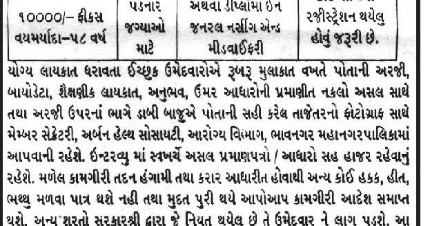Urban Health Society, Bhavnagar Recruitment Medical