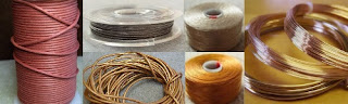 cotton cord, leather thong, beading thread, beading wire