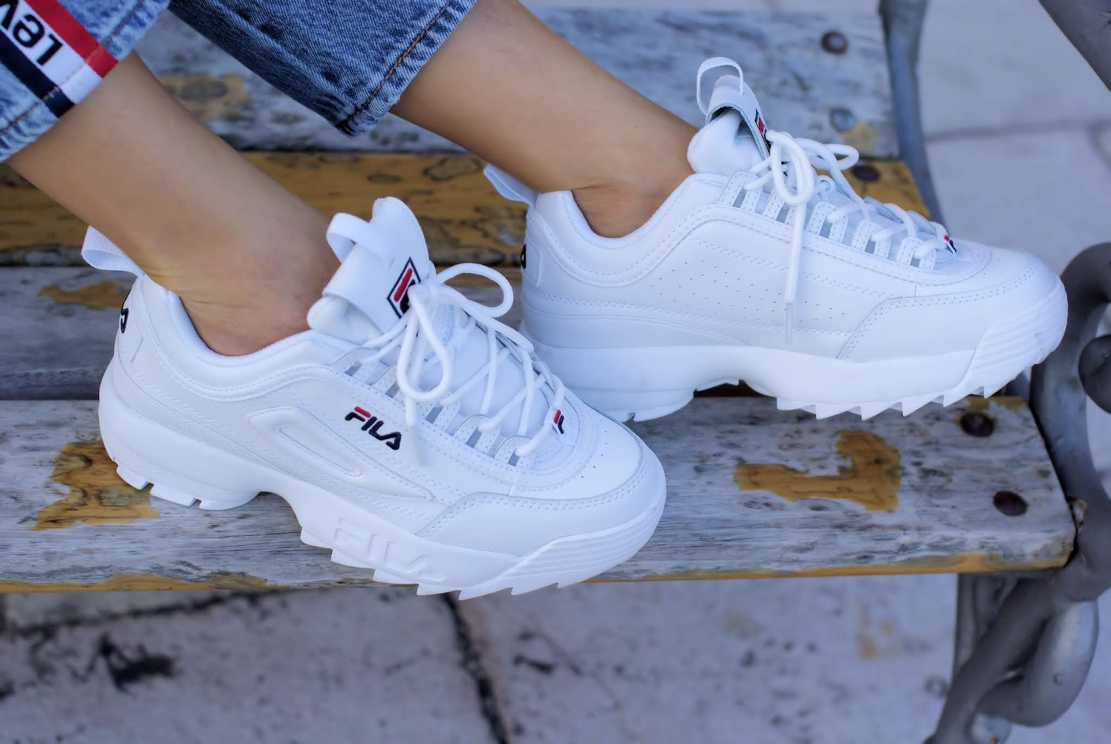 white Fila Disruptor sneakers on Fashion and Cookies fashion blog, fashion blogger style