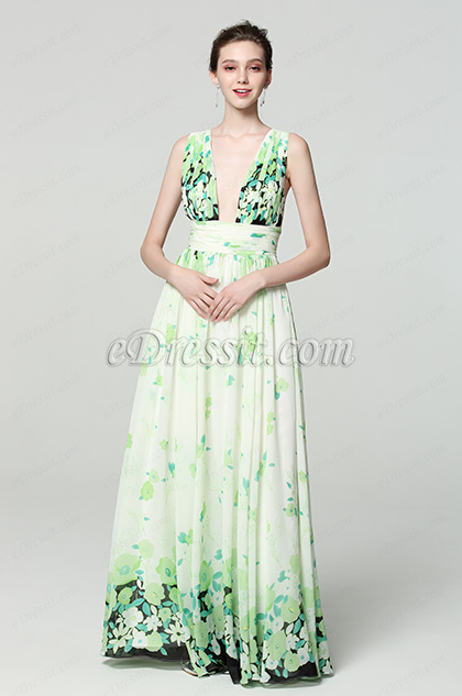 green plunging print floral prom dress