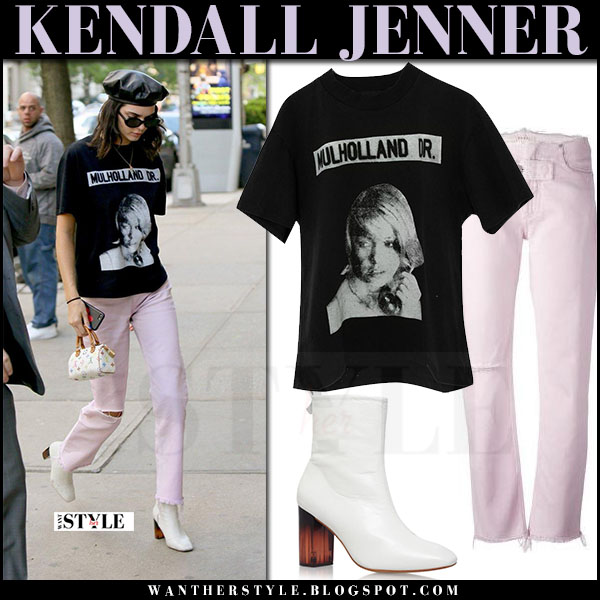 Kendall Jenner in pink alyx jeans, black print t-shirt enfants riches deprimes and white boots kurt geiger what she wore may 2017