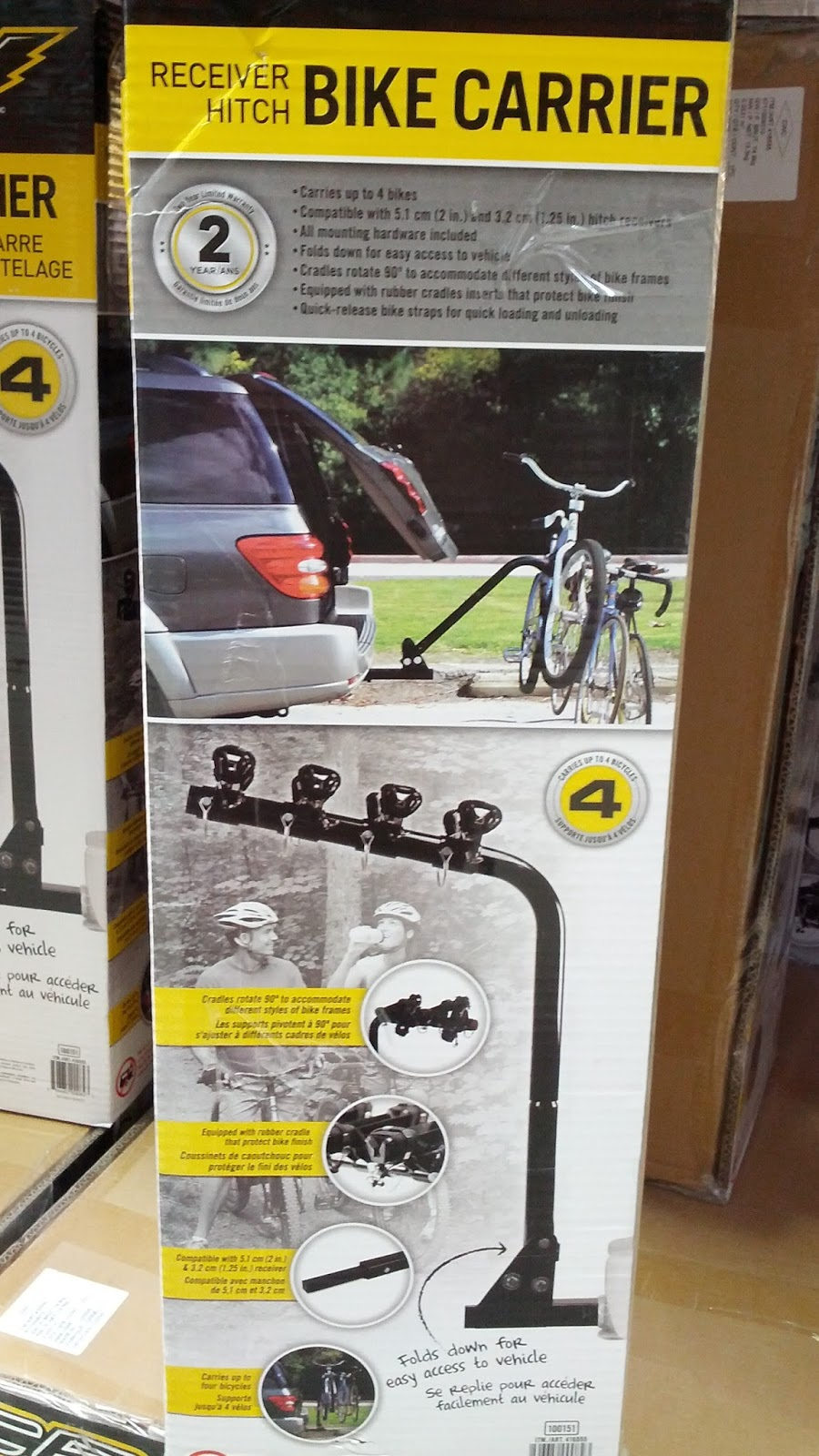 Receiver Hitch Bike Rack >> Champion Power Equipment Hitch Mount Bike Carrier | Costco Weekender