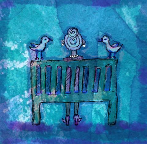 Digitális vízfestményen idős, kontyos hölgy ül szigorú tartással a parkban egy padon, rajta fényes fülbevaló és nyaklánc, oldalán két fehér galamb.